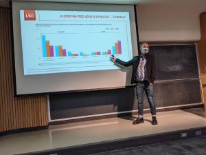 Man pointing at presentation